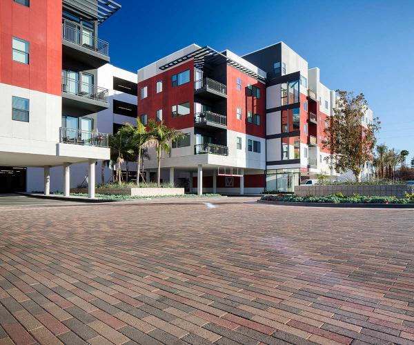 Tan Moduline Pavers for Commercial Parking