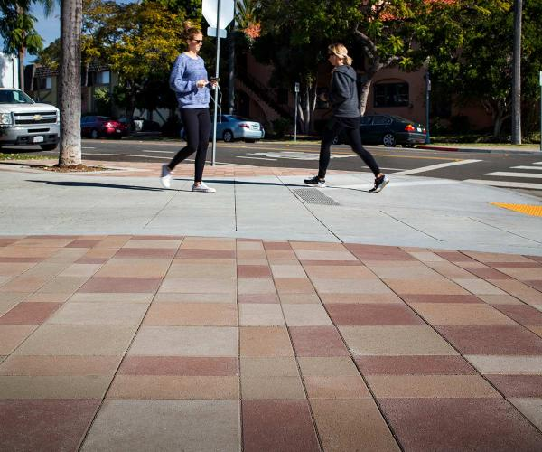 Red and Tan Moduline Pavers in a Commercial Plaza