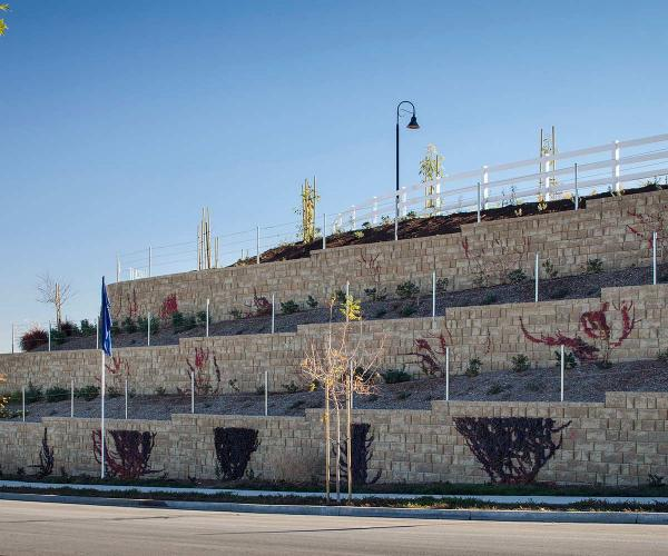 Multi Level Tan Vertica Retaining Walls